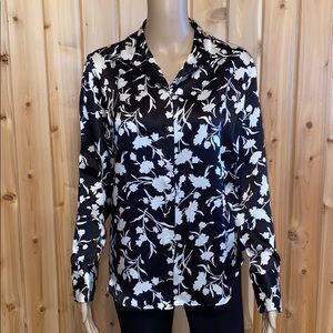 Anna & Frank 100% Silk Black White Button Front S